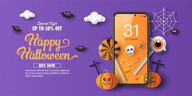Halloween sale promotion banner with a discount offer on a special occasion
