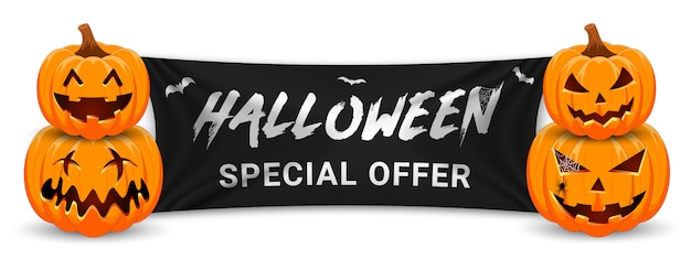 Halloween sale promotion banner with pumpkin, bats and black flag.