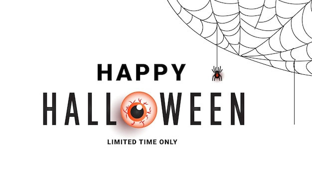 Halloween sale promotion banner with scary eye spiders