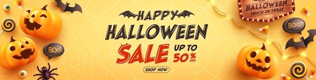 Рекламный плакат или баннер распродажи на хэллоуин с конфетами-призраками и элементами хэллоуина