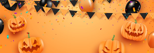 オレンジ色の背景にハロウィーンの風船とハロウィーンの販売促進ポスター。怖い気球。不気味なウェブサイトまたはバナーテンプレート。