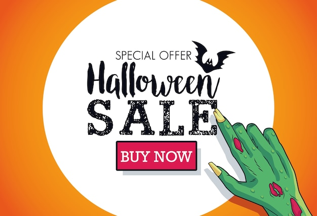 Halloween sale seasonal poster with death hand indexing lettering