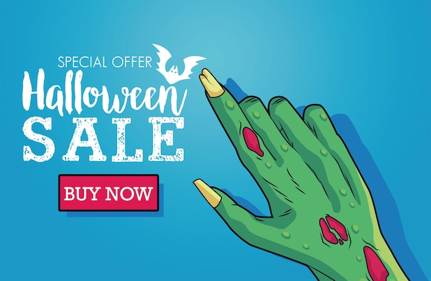Halloween sale seasonal poster with death hand and lettering