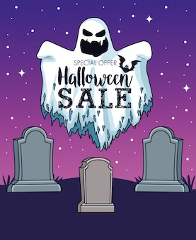 Halloween sale seasonal poster with ghost in cemetery
