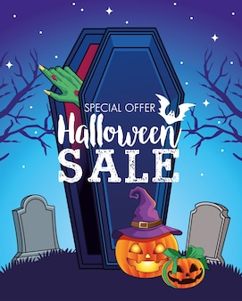 Halloween sale seasonal poster with hand coming out of coffin in cemetery