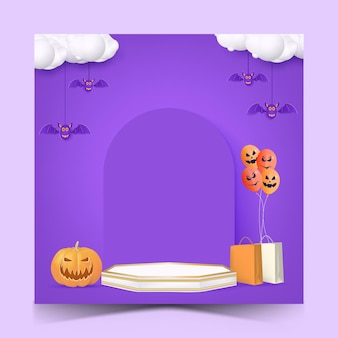 Halloween sale social media post template with podium