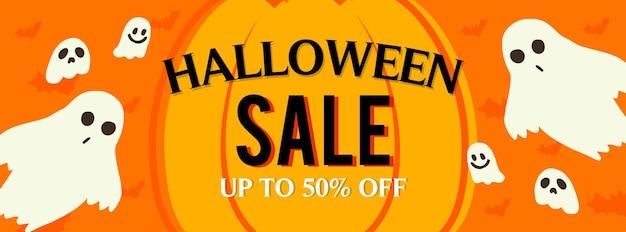 Хэллоуин распродажа жуткие призраки баннер вектор