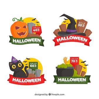 Halloween sale tags with green and red ribbons