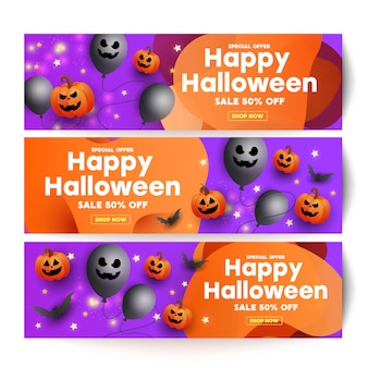 Halloween sale template banner with scary face pumpkins, bats and ghostly balloons