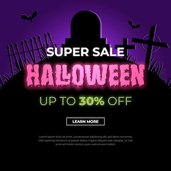 Halloween sale template concept