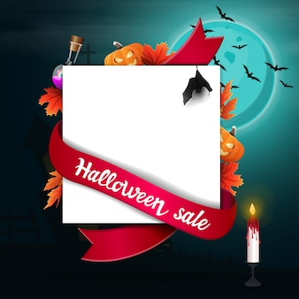 Halloween sale, template for discount banner in the form of a sheet of paper with halloween decor,
