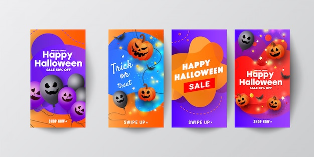 Halloween sale template instagram stories with scary face pumpkins, bats and a ghostly balloon