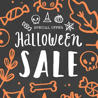 Halloween sale template. vector hand drawn lettering and doodles.