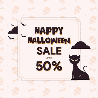 Halloween sale template with cute cat illustration