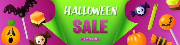 Halloween sale template with festive treats