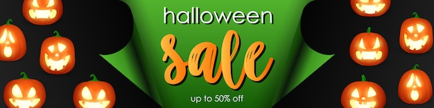 Halloween sale template with jack o'lanterns