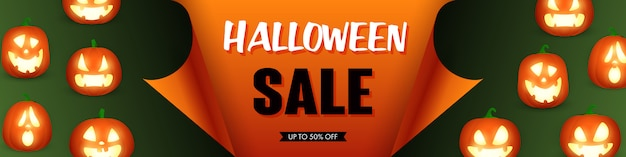 Halloween sale template with pumpkins