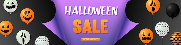 Halloween sale template with scary balloons