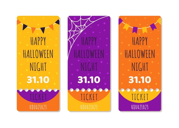 Halloween sale templates vector illustration of concert or holiday tickets for halloween day
