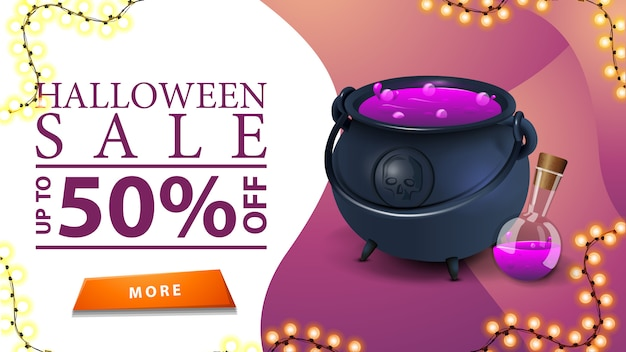 Halloween sale, up to 50% off, discount pink banner with button and witch's cauldron with potion