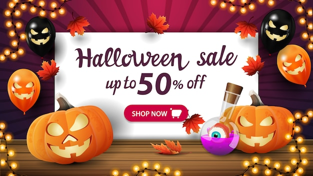 Halloween sale, up to 50% off, discount purple banner with halloween balloons, pumpkin jack and witch's potion