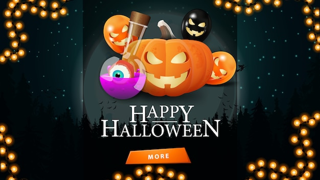 Halloween sale, up to 50% off, discount web banner with halloween night landscape , pumpkin jack and witch's potion