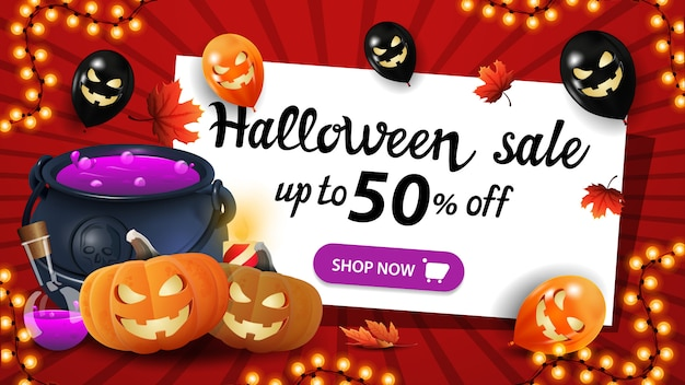 Halloween sale, up to 50% off, red banner with halloween balloons, garland, witch's cauldron and pumpkin jack