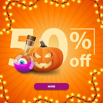 Halloween sale, up to 50% off, square orange discount banner with button, pumpkin jack and witch's potion