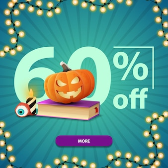 Halloween sale, up to 60% off, square blue discount banner with button, spell book and pumpkin jack