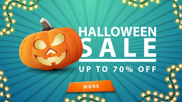 Halloween sale, up to 70% off, discount blue banner with button and fun pumpkin jack