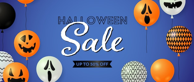 Halloween sale, up to fifty percent off lettering with balloons