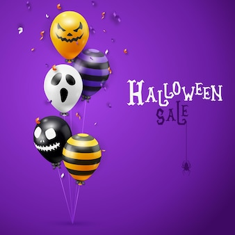 Halloween sale vector background with ghost balloons and ribbons decorations. creepy scary faces on balloons. decoration element for halloween celebration