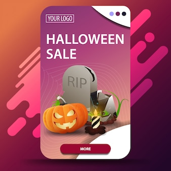 Halloween sale, vertical modern web banner with tombstone and pumpkin jack