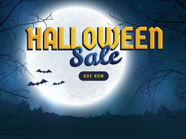 Halloween sale. web banner template.