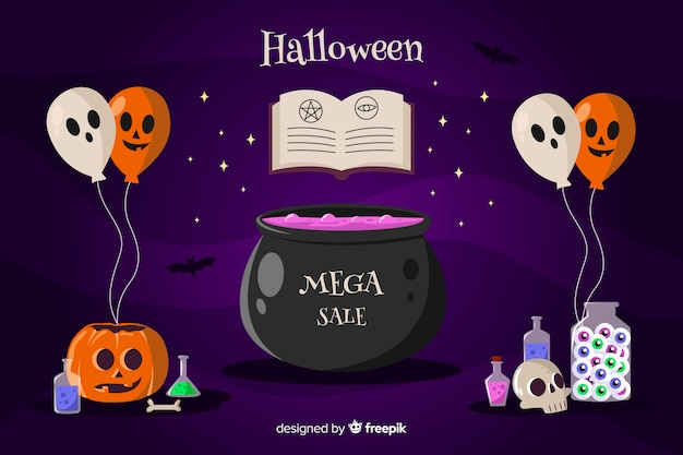Halloween sale witchcraft background with balloons