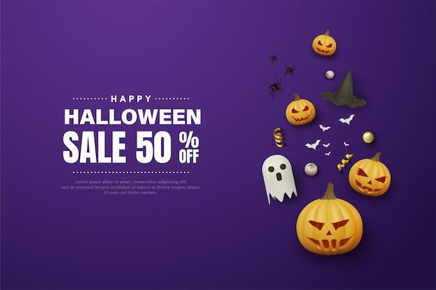 Halloween sale with illustration on dark blue