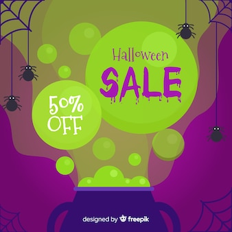 Halloween sales background in flat style