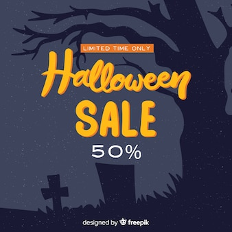 Halloween sales background hand drawn style