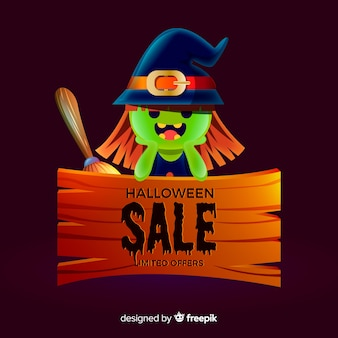 Halloween sales background with cute witch