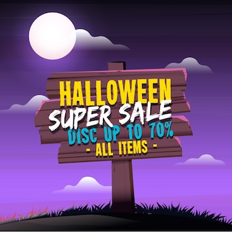 Halloween sales background with wooden sign