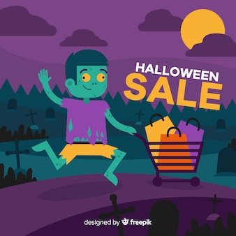 Halloween sales background with zombie kid