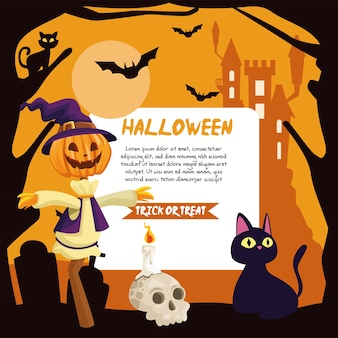 Halloween scarecrow and cat cartoons with banner design, holiday and scary theme