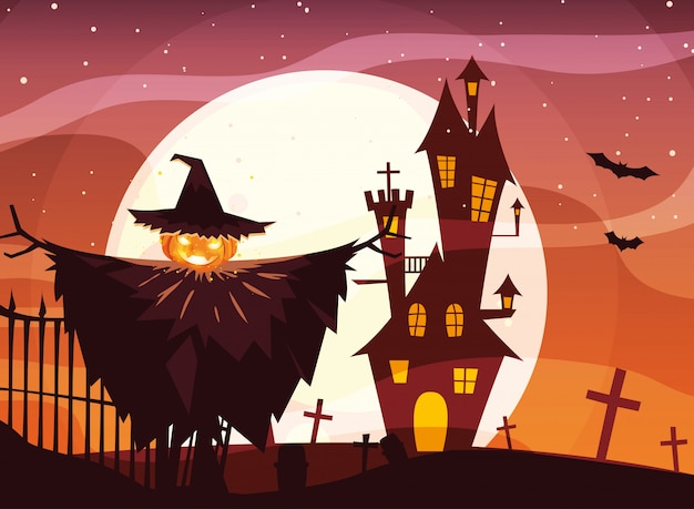 Хэллоуин пугало под полной луной