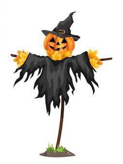 A halloween scarecrows with a jack o lantern head.