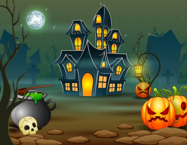 Halloween of scary house with pumpkin and green cauldron