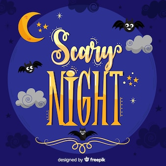 Halloween scary night lettering