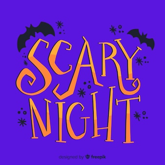 Halloween scary night with bats