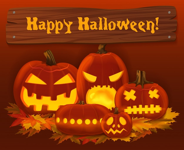 Halloween scary pumpkin background