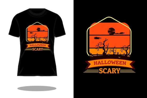 할로윈 무서운 복고풍 티셔츠 디자인