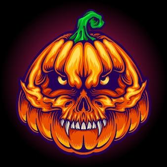 Хэллоуин страшный череп джек о фонарь лица векторные иллюстрации Premium векторы